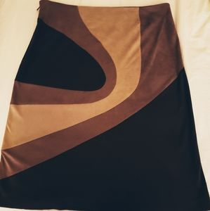 Retro Kenneth Cole Faux Suede Brown and Tan Skirt